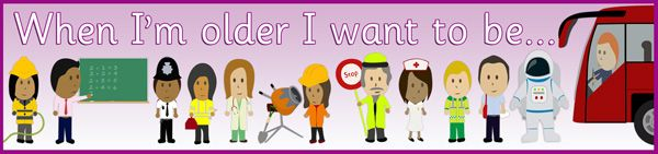 When I'm Older Banner...Decorative banner depicting various professions and asking children to consider what they want to be when they are older.