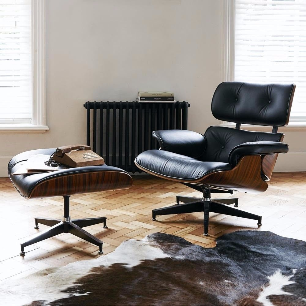 Groovy Lounge Chair With Ottoman Faux Black Leather With Rosewood Forskolin Free Trial Chair Design Images Forskolin Free Trialorg