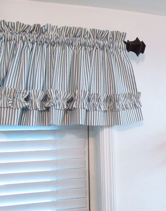 Blue Off White Ticking Stripe Valance Made To Order 17 Length