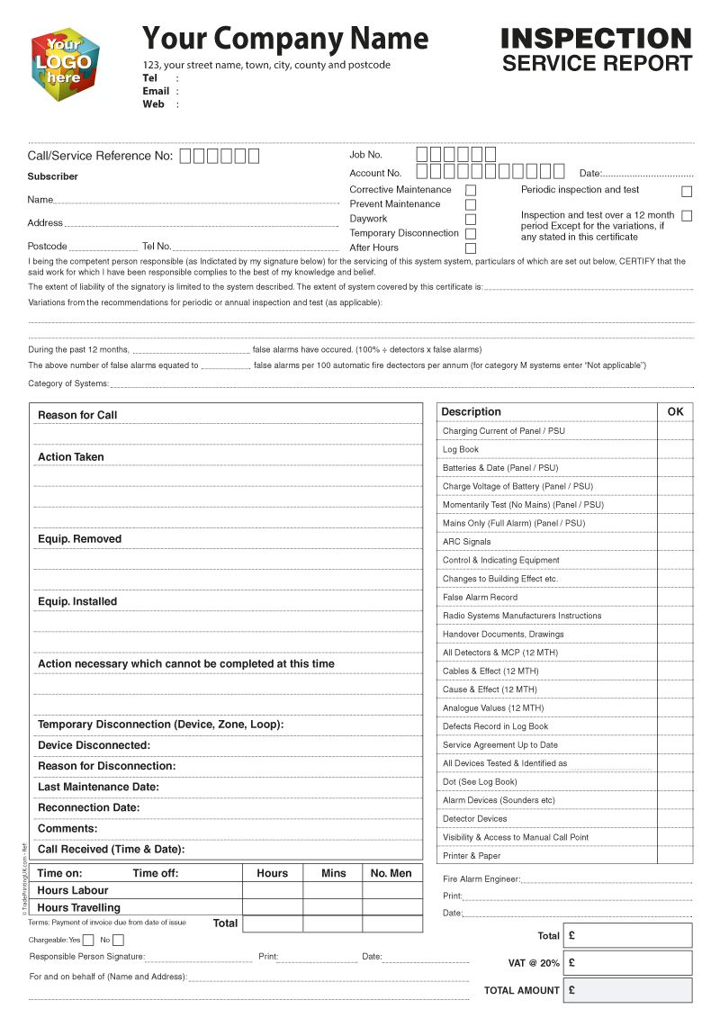 Inspection Service Report Template Artwork For Ncr Printed