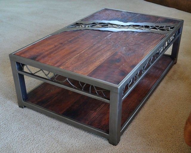 Wood And Metal Coffee Table With Distressed Top Coffee
