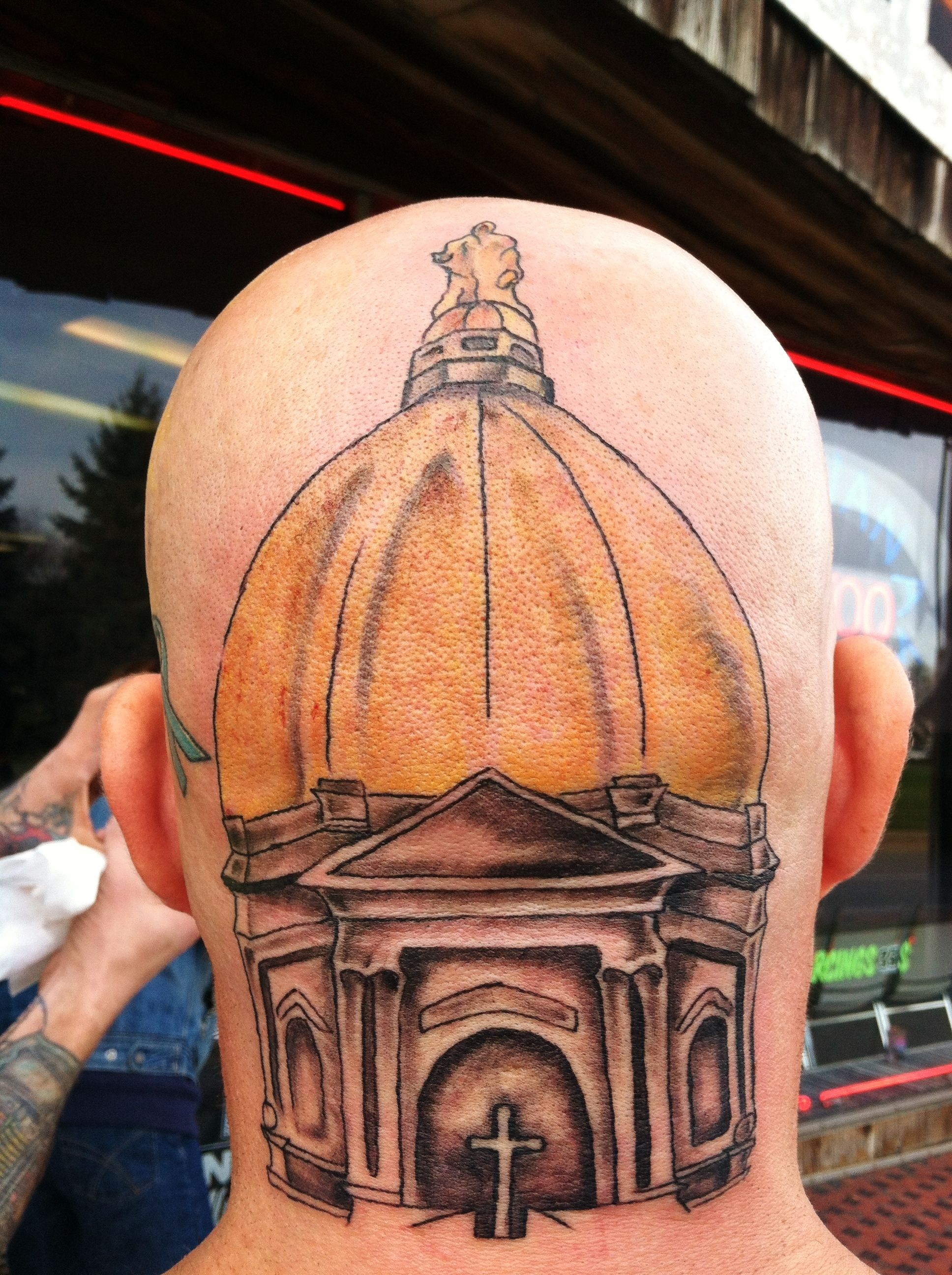 Now this is a real notre dame fan golden dome tattoo for Notre dame tattoos