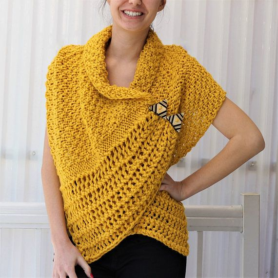 Easy Knitting pattern Beginner Wrap PDF Patron tricot | tejido ...