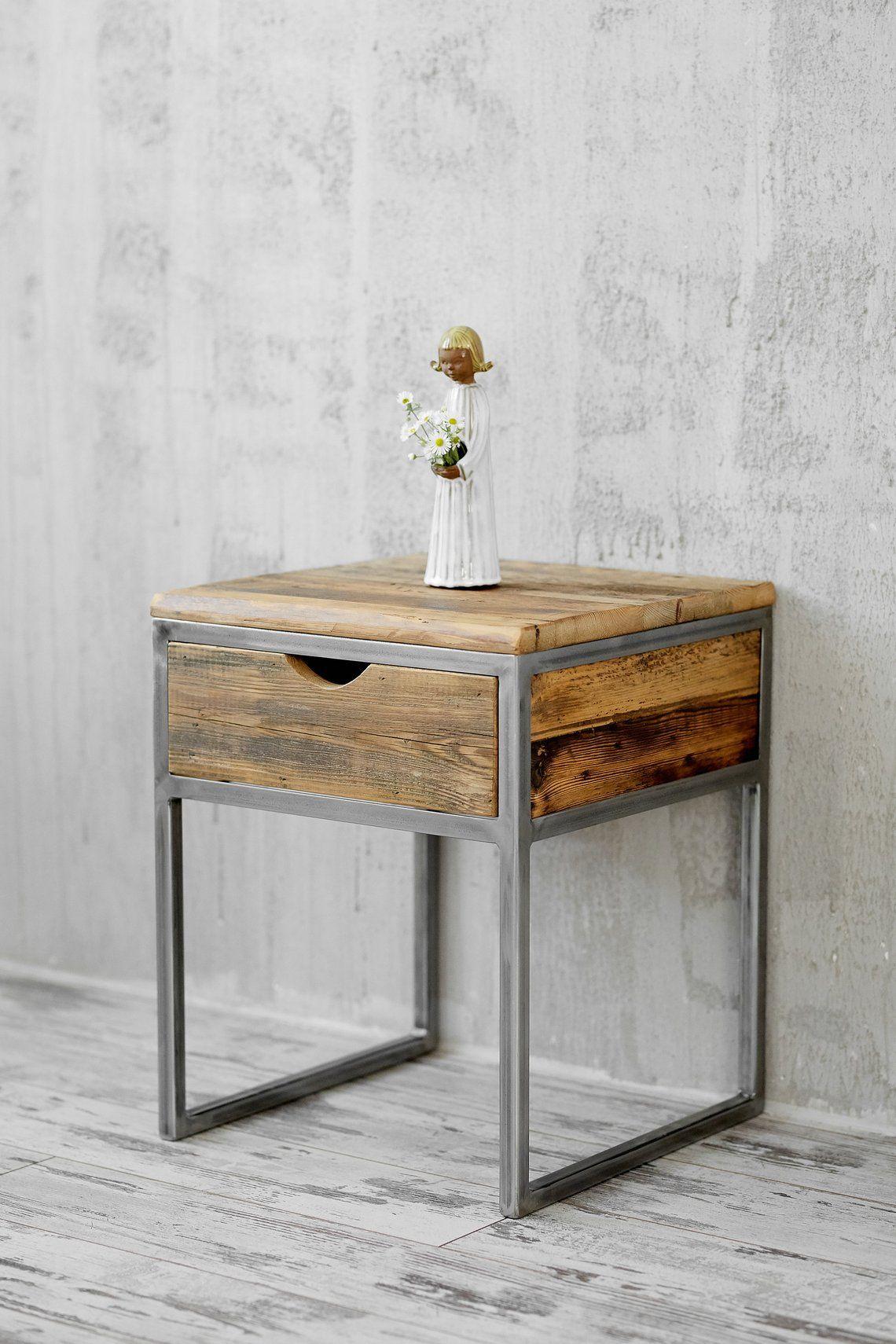 Nachtkastje Staal Met Hout.Industrial Bedside Table Wood And Steel Nightstand Rustic