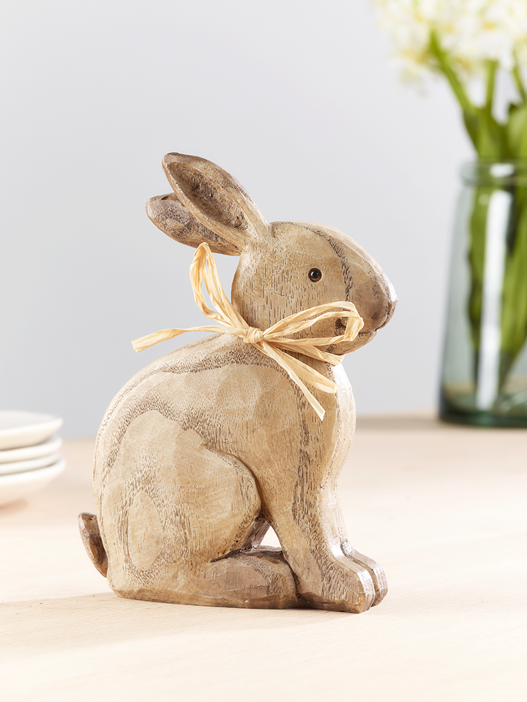 NEW Small Sitting Rabbit. 15cm high. Polyresin, wood grain effect.£5.50