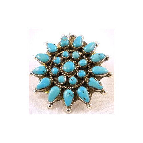 Vintage Navajo Silver Turquoise Cluster Pendant Begay