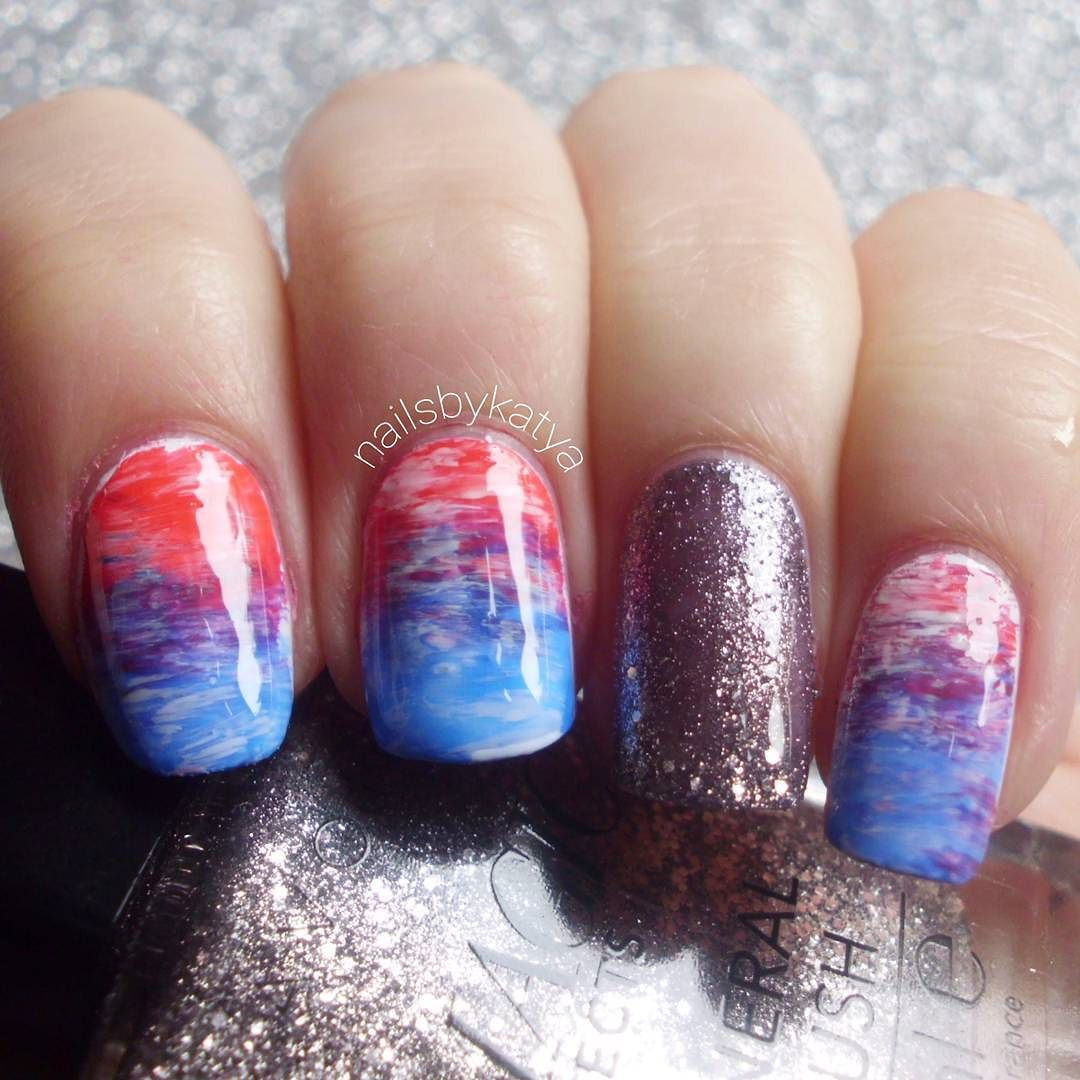 Neon nails from pink to blue.. created using a fan brush the accent ...