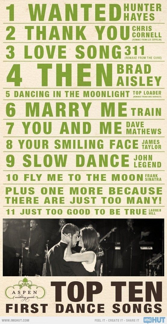 Top Ten First Dance Songs Some Of These Are Good Ones