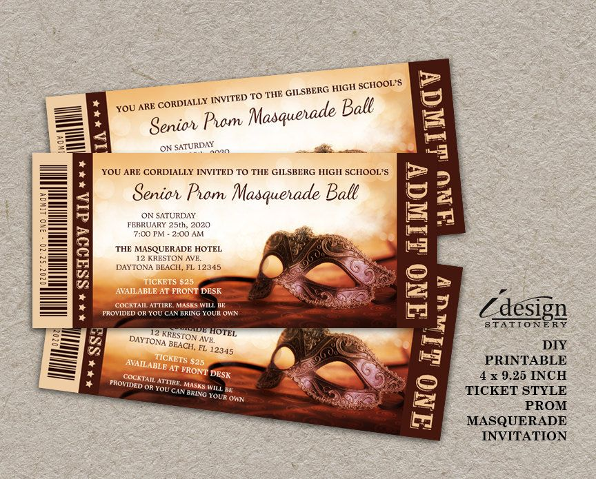 Masquerade Ball Prom Invitation Printable Ticket Style Junior - ball ticket template