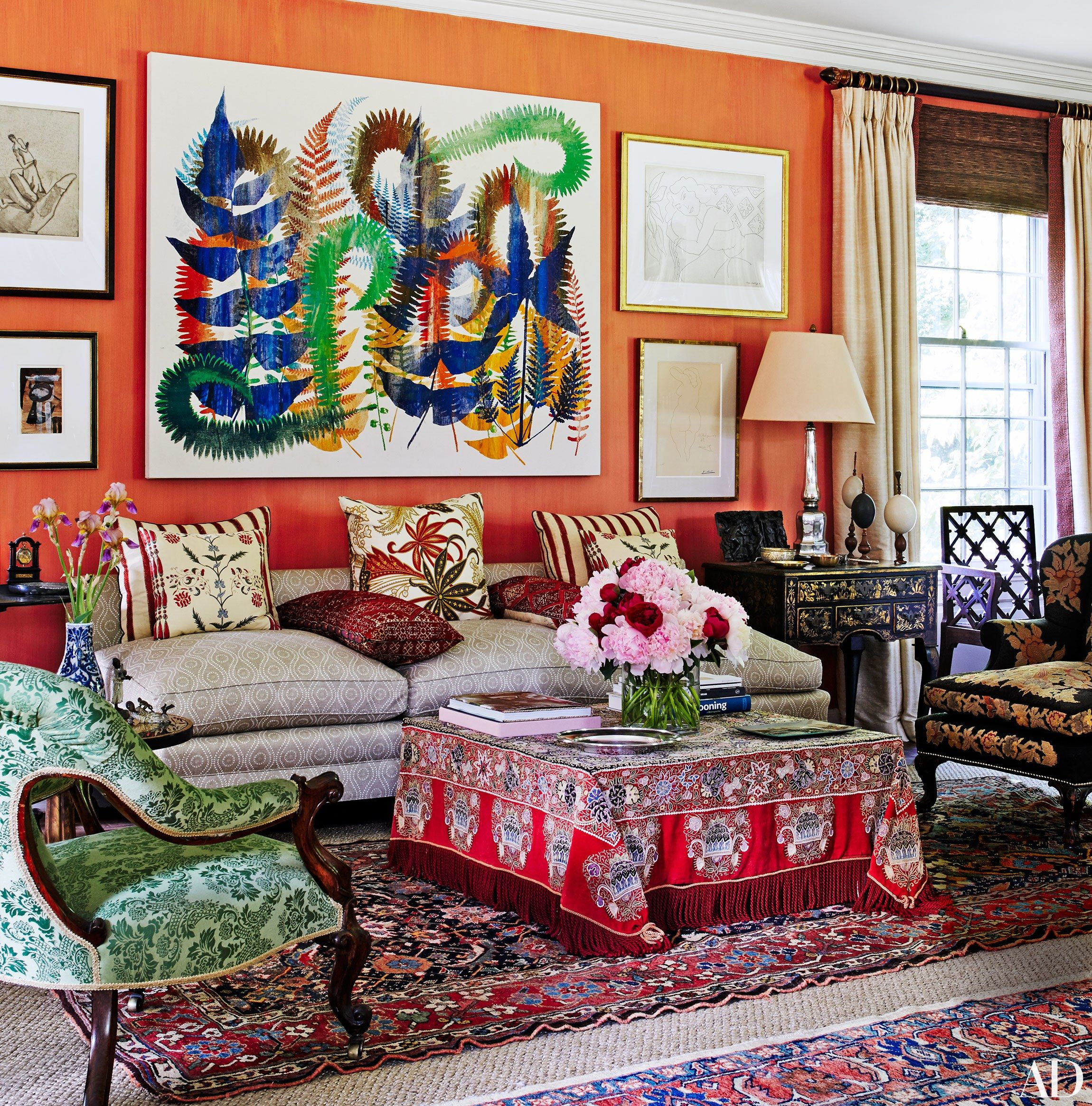 An eclectic living room with layered decor | archdigest.com