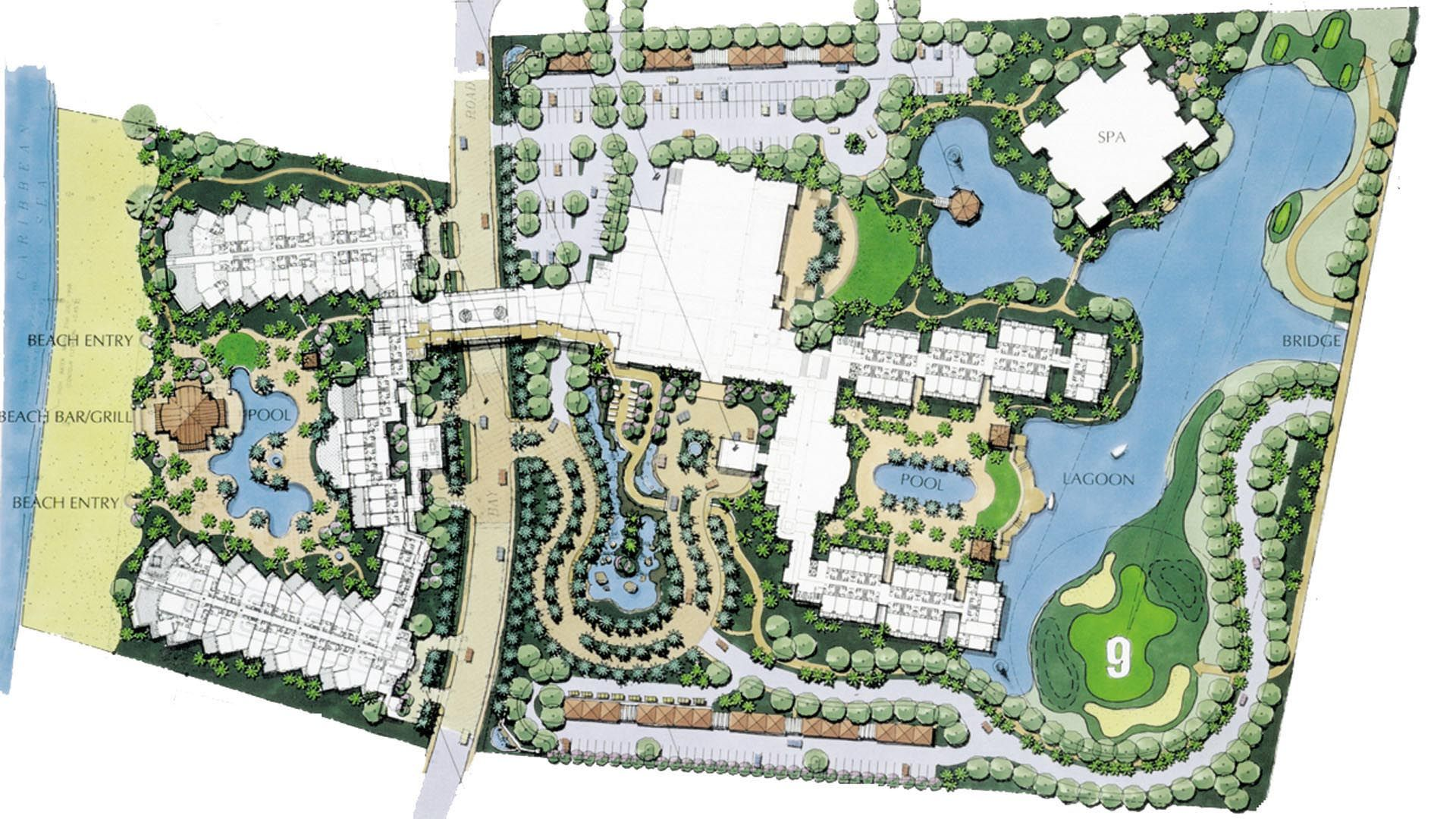 Beach resort site plan google search hotels and for Site plan with landscape