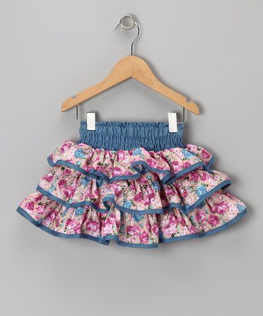 Take a look at this Pink Denim Floral Ruffle Skirt - Toddler & Girls by Lele Vintage on #zulily today!