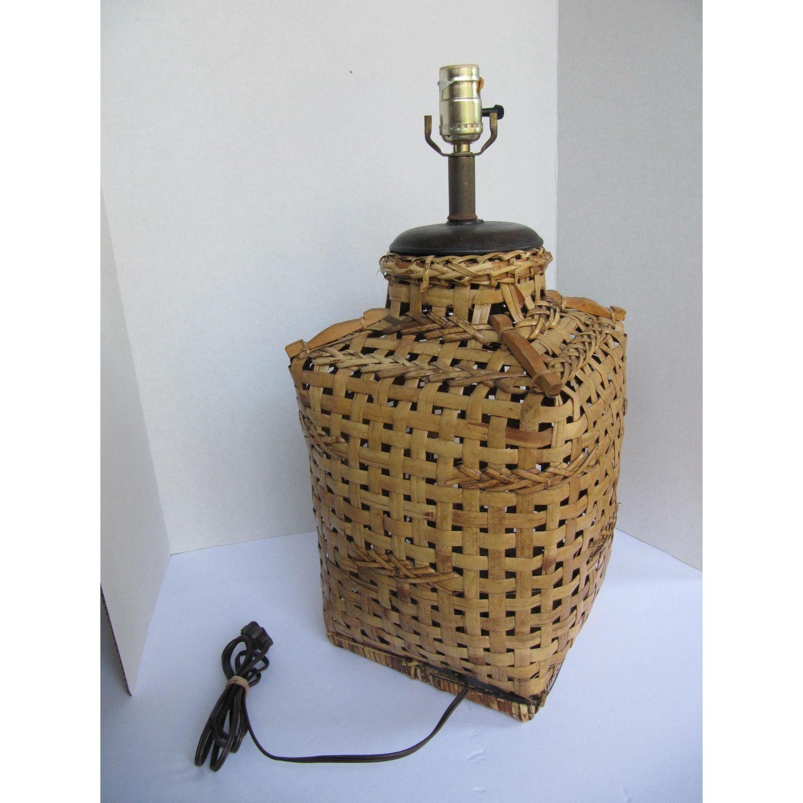 Image of Vintage Asian Rattan Basket Lamp | Lamp, Rattan ...