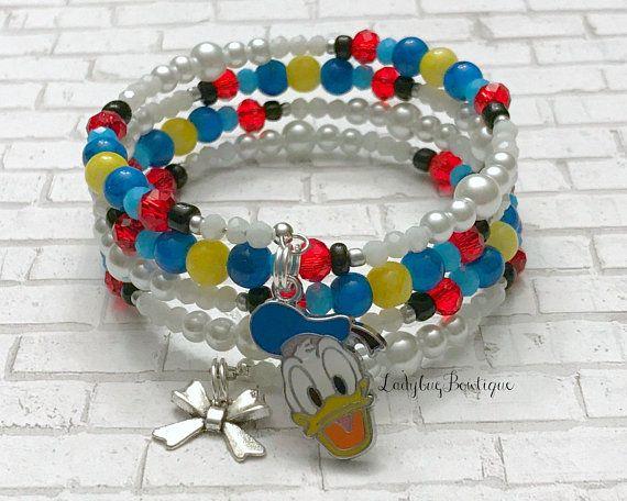 Donald Duck Infinity Glass Beaded Wrap Bracelet Disney Bounding Bow Charm Mickey Mouse Birthday ...