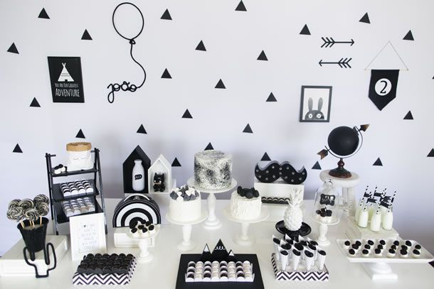Festa Geométrica P&B para Meninos Party and Wedding Ideas Party rock, Tumblr birthday e  -> Decoração De Aniversario Masculino Preto E Branco