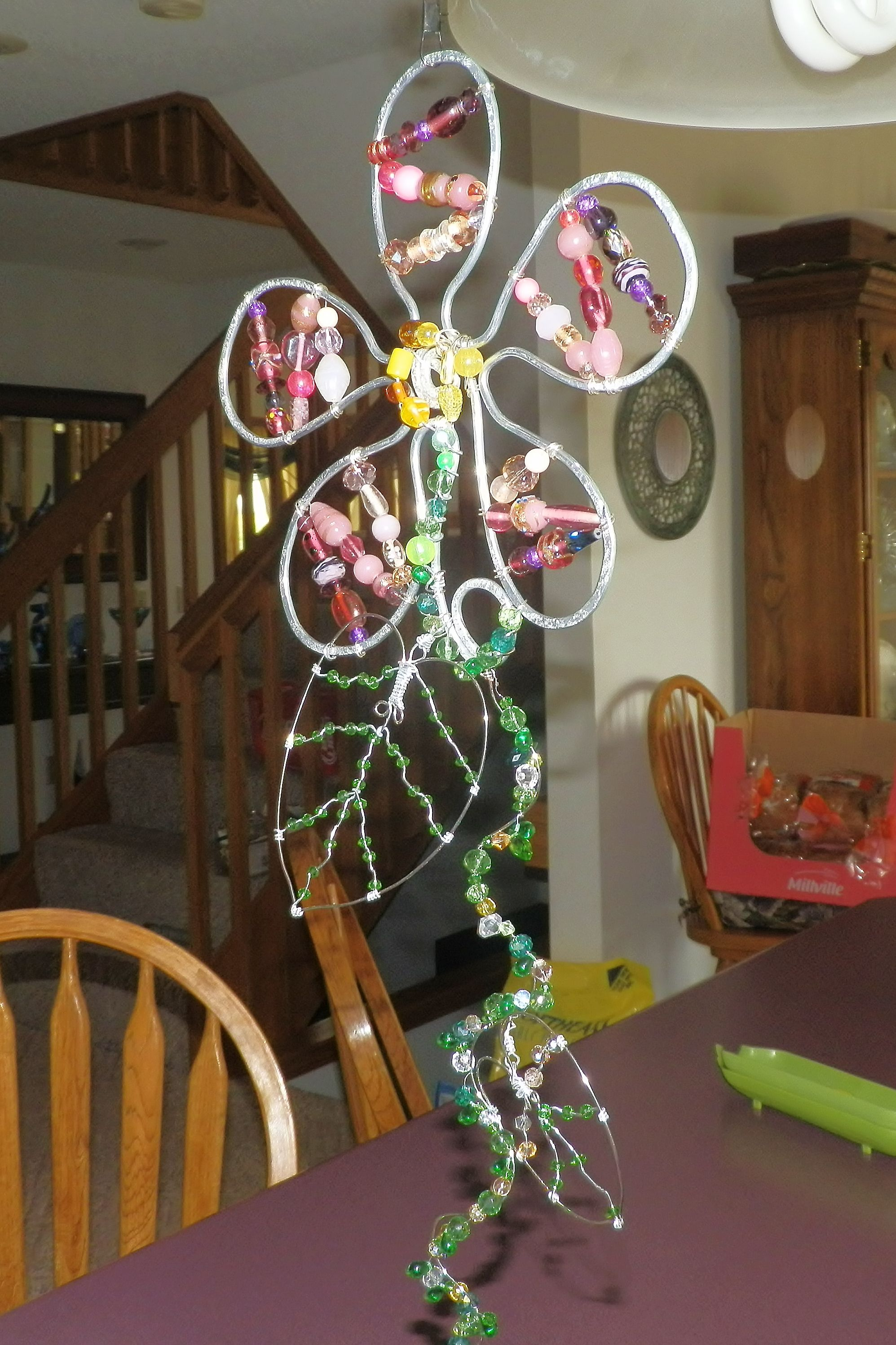 Flower Sun Catcher Wind Chime, Garden Art, Wire Wrapped And Beaded, Spinning  Suncatcher