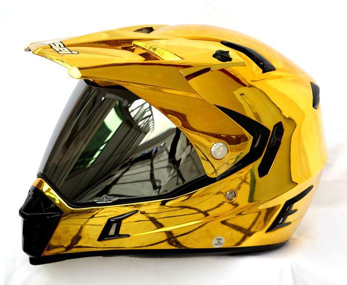 Masei 311 Motocross Atv Dot Dirtbike Helmet Chrome Gold L Xl Motorbike Helmet Motocross Helmets Motocross
