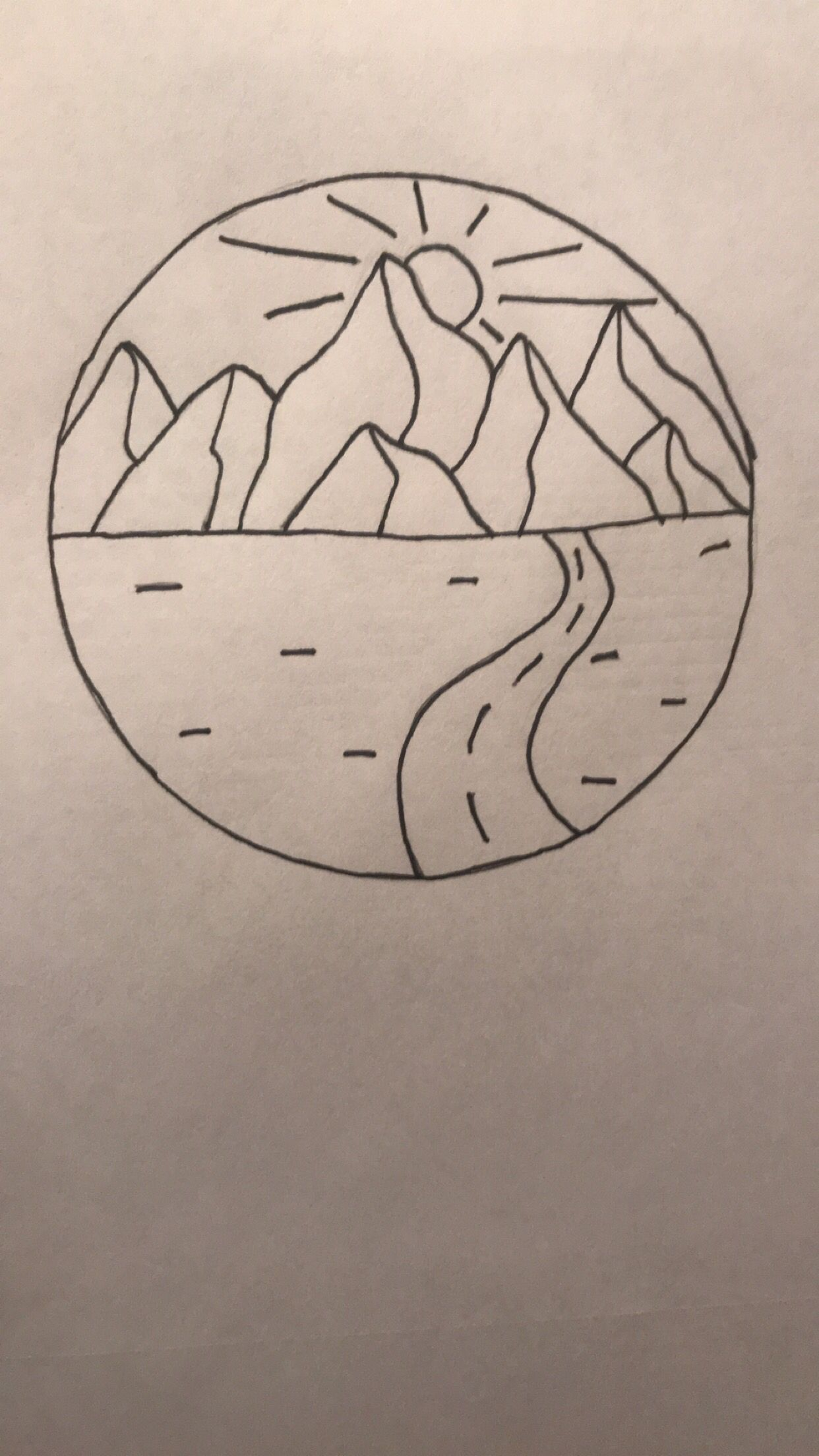Simple Mountain And Nature Pencil Sketch Easy Fast Art Tattoo
