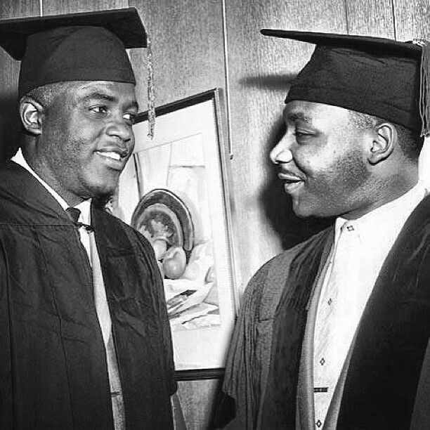 Jackie Robinson & Dr. Martin Luther King Jr. receiving honorary doctorates from Howard University, June 1957.