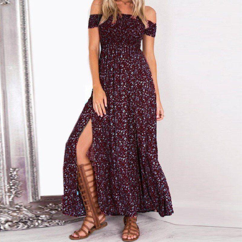 decdbfa8585 Sexy strapless beach summer dress sundresses Vintage tunika maxi dress Boho  floral women split long dress vestidos de fiesta