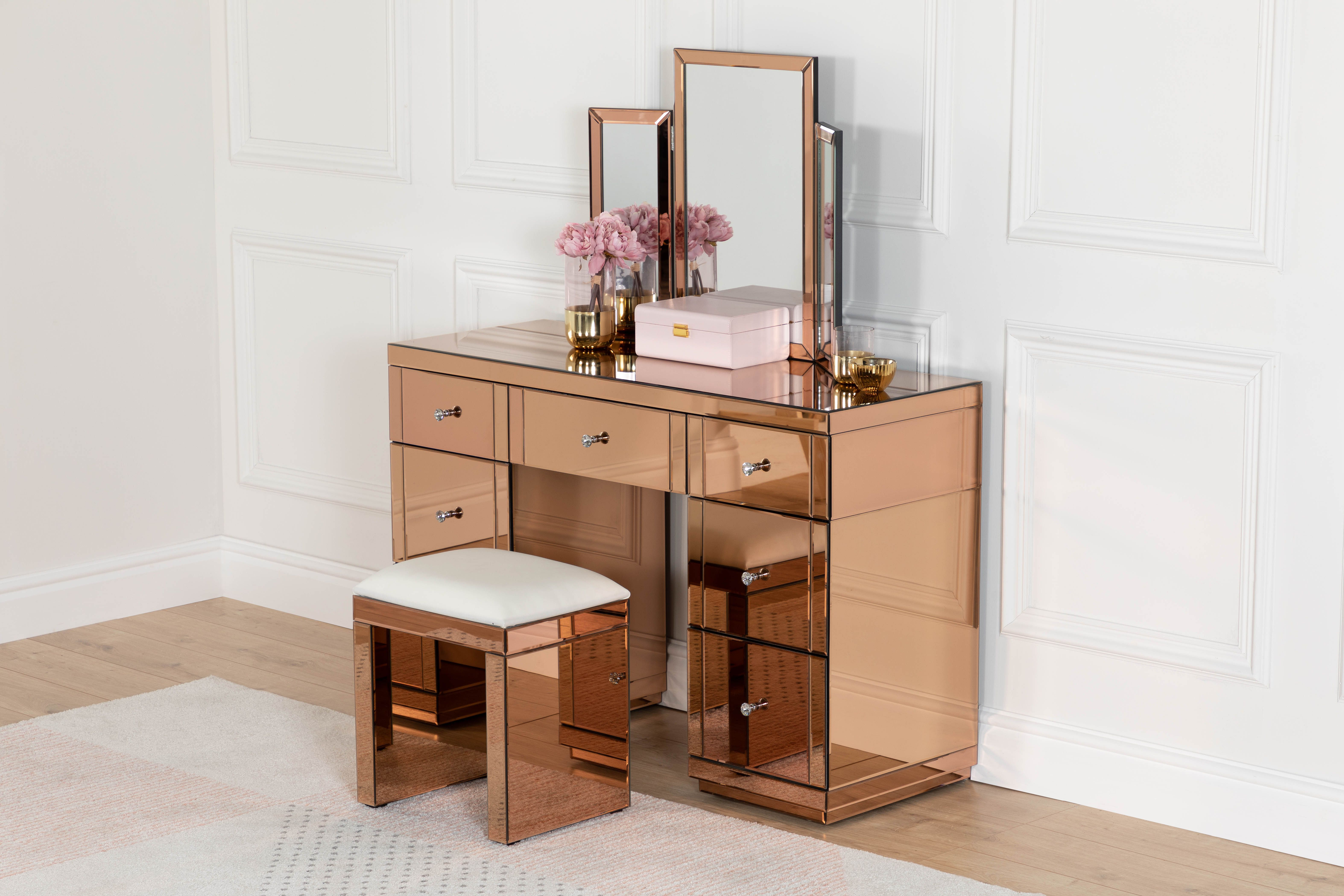 Dressing Table Set With Mirrored Stool