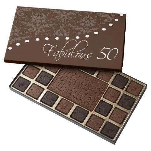Fabulous 50 Happy Birthday Box of Chocolates | Zazzle.com