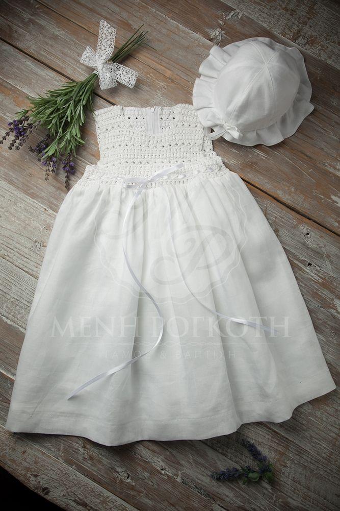 ff4f1ec2dd6 Βαπτιστικά ρούχα για κορίτσι λευκό λινό με πλεκτό μπούστο. | Baptism ...