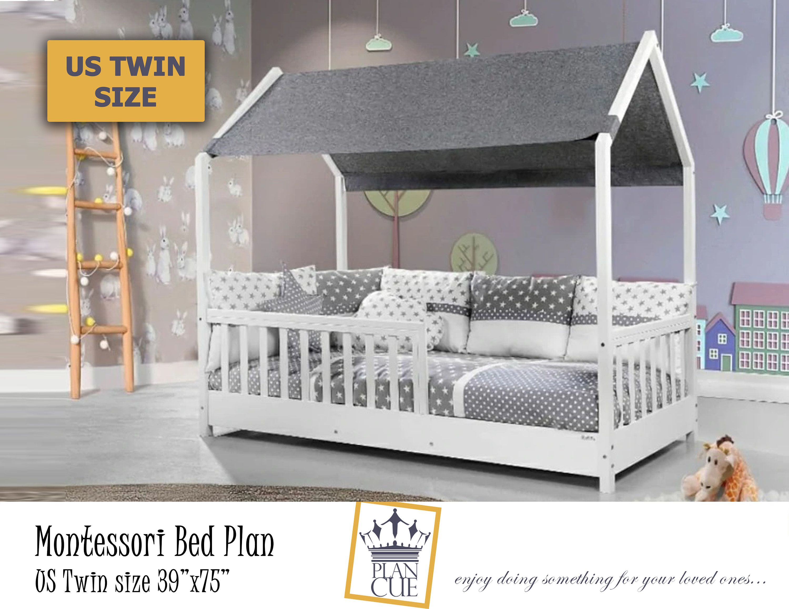 Montessori Twin Toddler House Bed Plan, Wooden Twin Bed