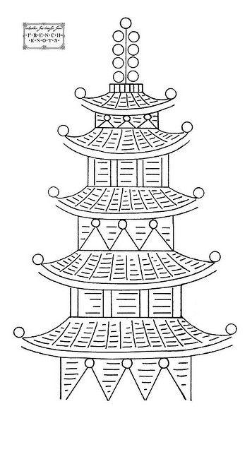 Pagoda Sashiko Needlework Designs Pinterest Embroidery
