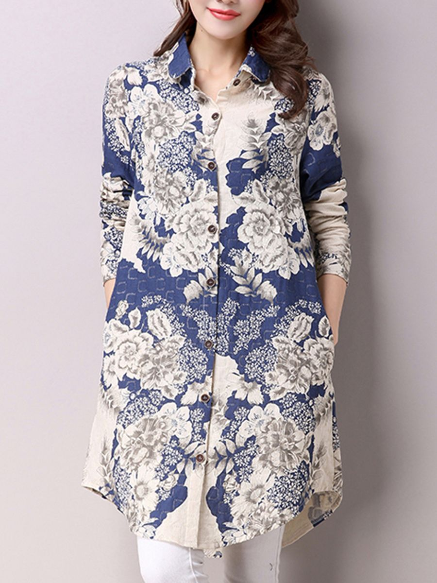9bc1c60e7c39ed Buy Longline Curved Hem Floral Printed Pocket Blouse online with cheap  prices and discover fashion Blouses at Fashionmia.com.