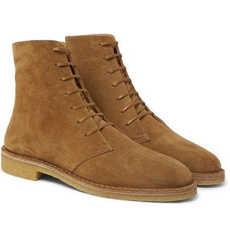 afa04a3c56 SAINT LAURENT Cigar Brushed-Suede Boots   SC's Style   Boots, Mens ...