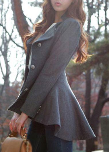 Long Sleeve Breasted Coat - Grey
