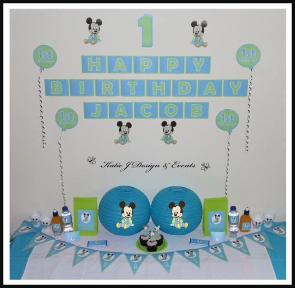 Shop online personalised baby mickey mouse party decorations baby mickey mouse personalised birthday party decorations supplies packs shop online australia banners bunting wall display negle Images