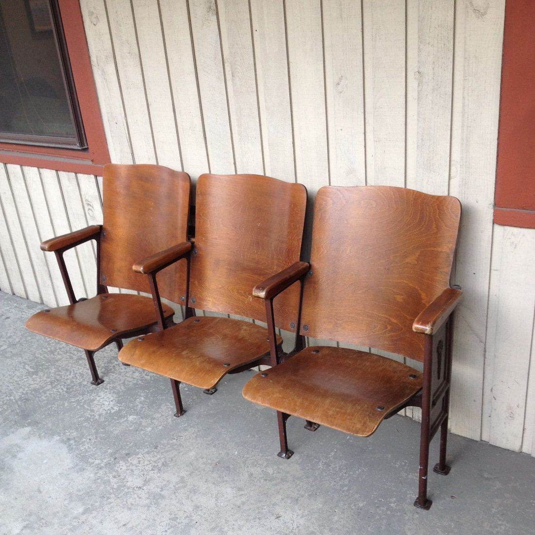 Antique Theatre Seating or Church Seats Connected Wood And Iron - Antique Theatre Seating Or Church Seats Connected Wood And Iron