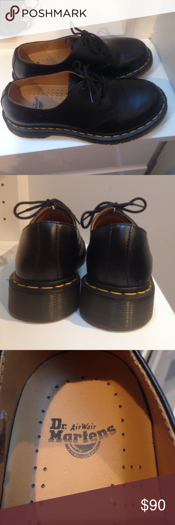 Shoes - Black Dr. Martens, they were used and have a few small scuffs but nothing too noticeable, stitching is perfect, there is yellow stitching at the bottom, and they have a small platform Dr. Martens Shoes Platforms