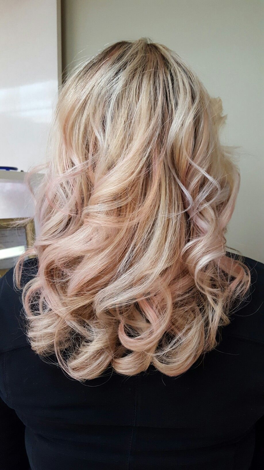 Beautiful Shadow Root With Vanilla Blonde And Rose Gold Blonde