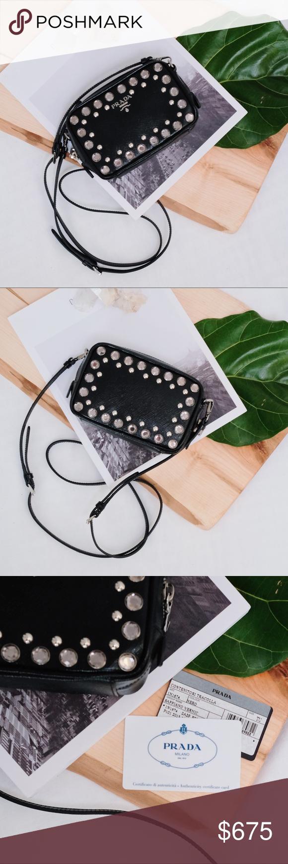 99df86fdf36d5d Prada Saffiano Studded Mini Crossbody—Black Prada Saffiano Studded Mini Zip  Crossbody Bag in Black