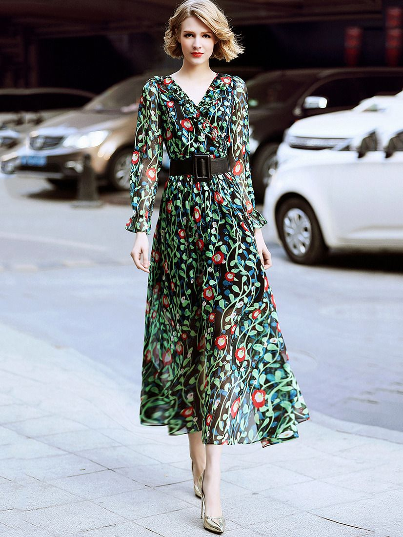 Casual fashion vneck long sleeve belted big hem print maxi dress in