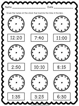 TELLING TIME WORKSHEET PACK & CENTER/GAME {PRINTER