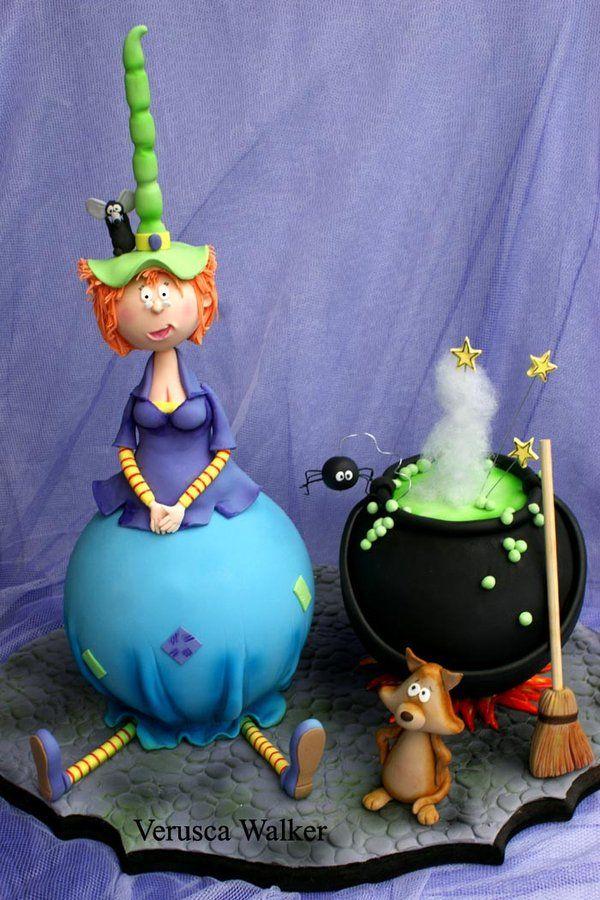 Witch cake  porcelana fria pasta francesa masa flexible fimo fondant figurine modelado topper polymer clay halloween
