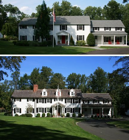 Before after photos of exterior renovation in new canaan for Exterior remodel before and after