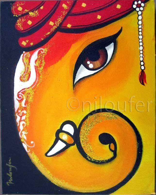 Lovely Simple Canvas Painting Ganesha   Google Search