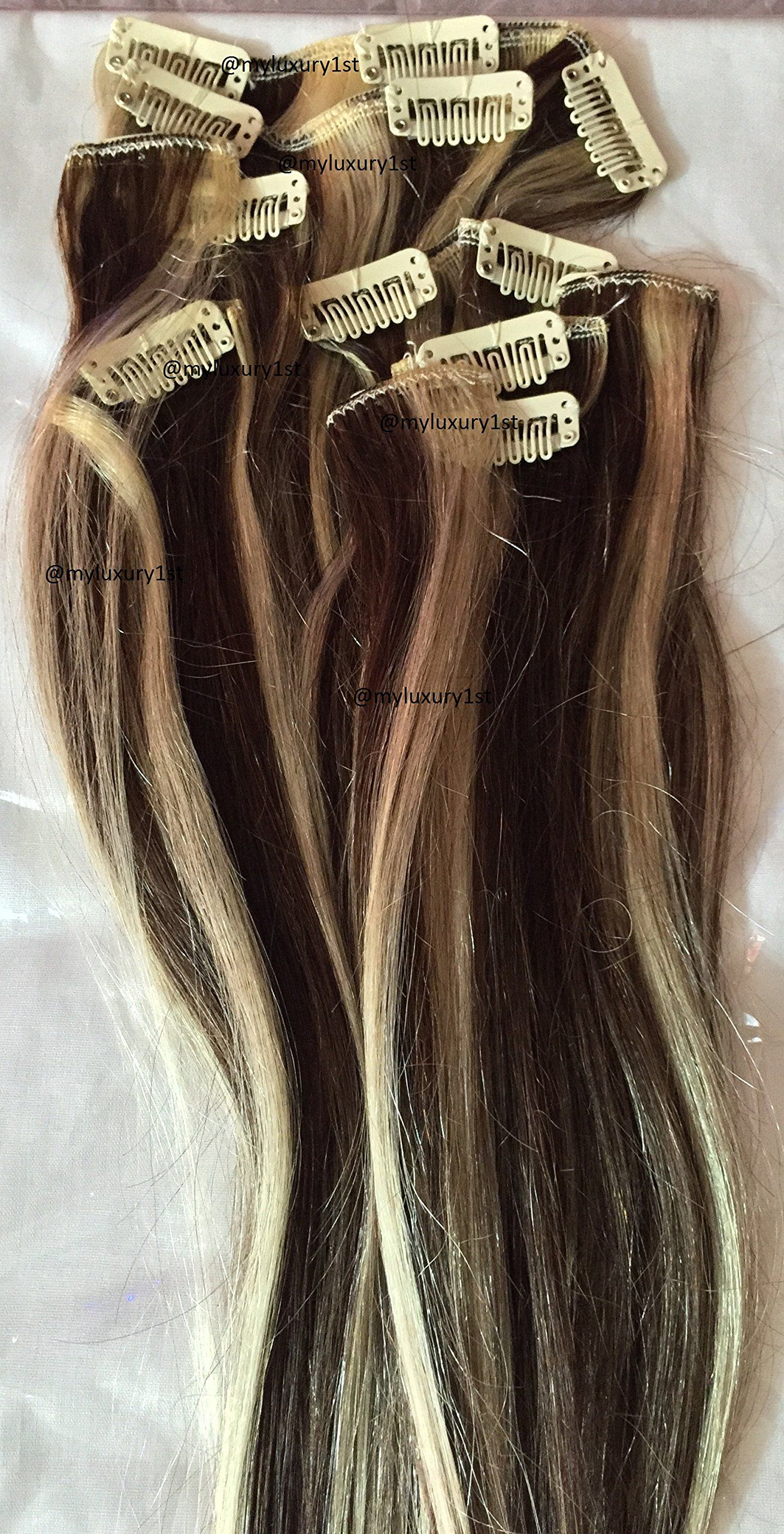 17 Us Remy Clip In Hair Extensions Brown Blonde Highlights 7 Pieces