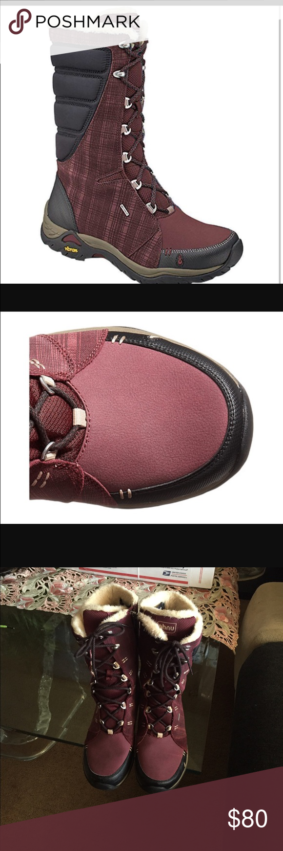 AHNU-NORTHRIDGE INSULATED Waterproof RED MAHOGANY Thinsulate insulation and a moisture-wicking lining keep your feet warm and dry in this waterproof leather boot. A removable EVA footbed offers all-day support. Ahnu Shoes Winter & Rain Boots