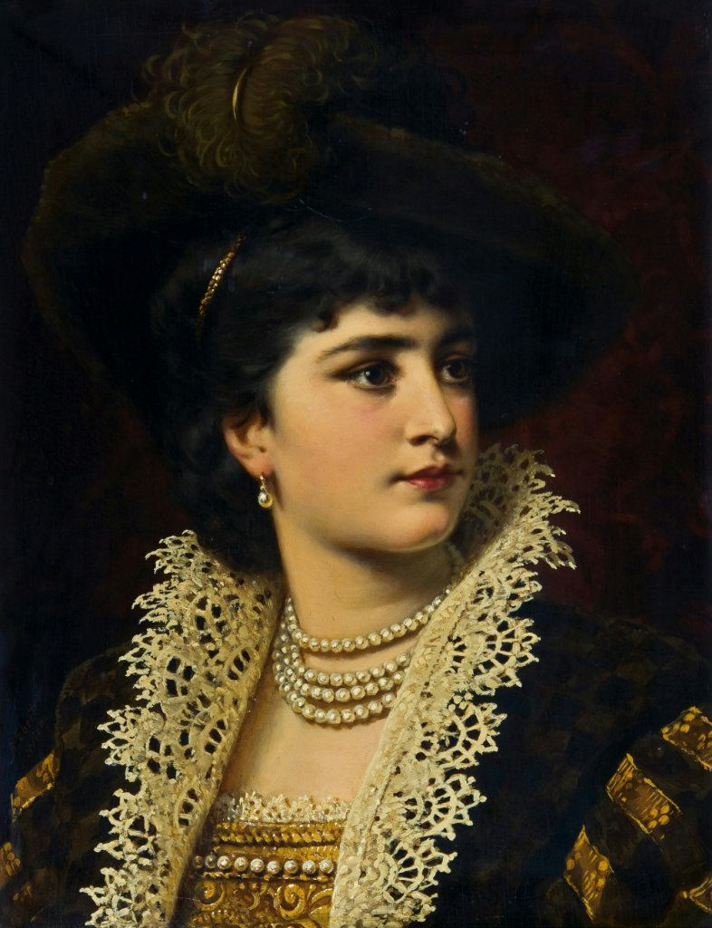 Damenportrait im historischen Gewand by Austrian Painter Anton Ebert 1845 - 1896 http://commons.wikimedia.org/wiki/File:Anton_Ebert_Damenportrait.jpg