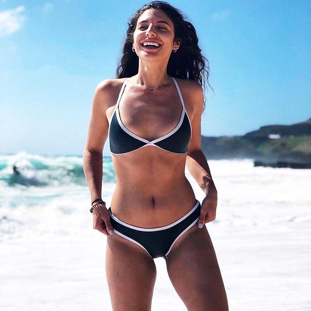 322a8dea30c2e0 2018 Halter Lace Up Bikini Multi Solid Colour Women Swimwear Trim Low Rise  Brazilian High Cut Leg Bandage Micro Bikinis Swimsuit