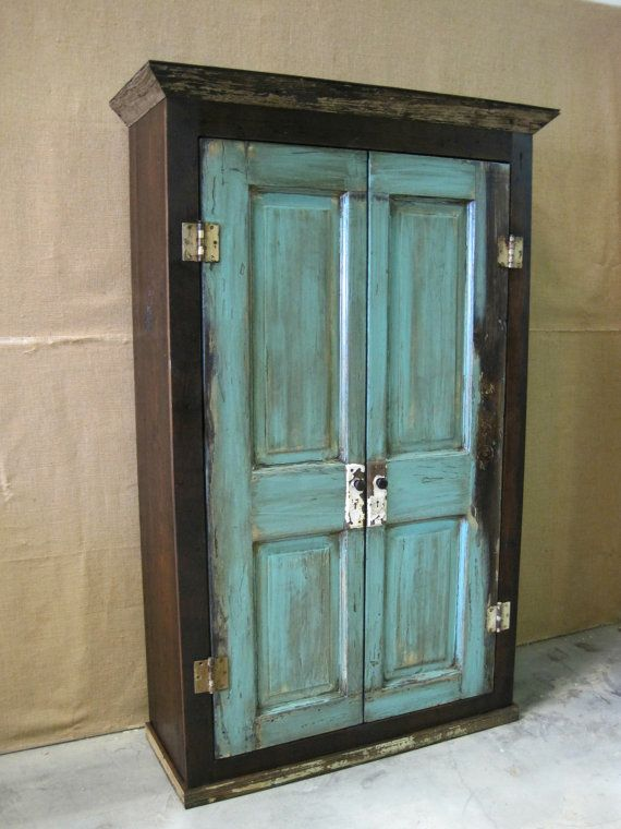 Beau Oversized Reclaimed Wood Storage Armoire / Wardrobe  Dark Brown With  Turquoise Doors On Etsy,
