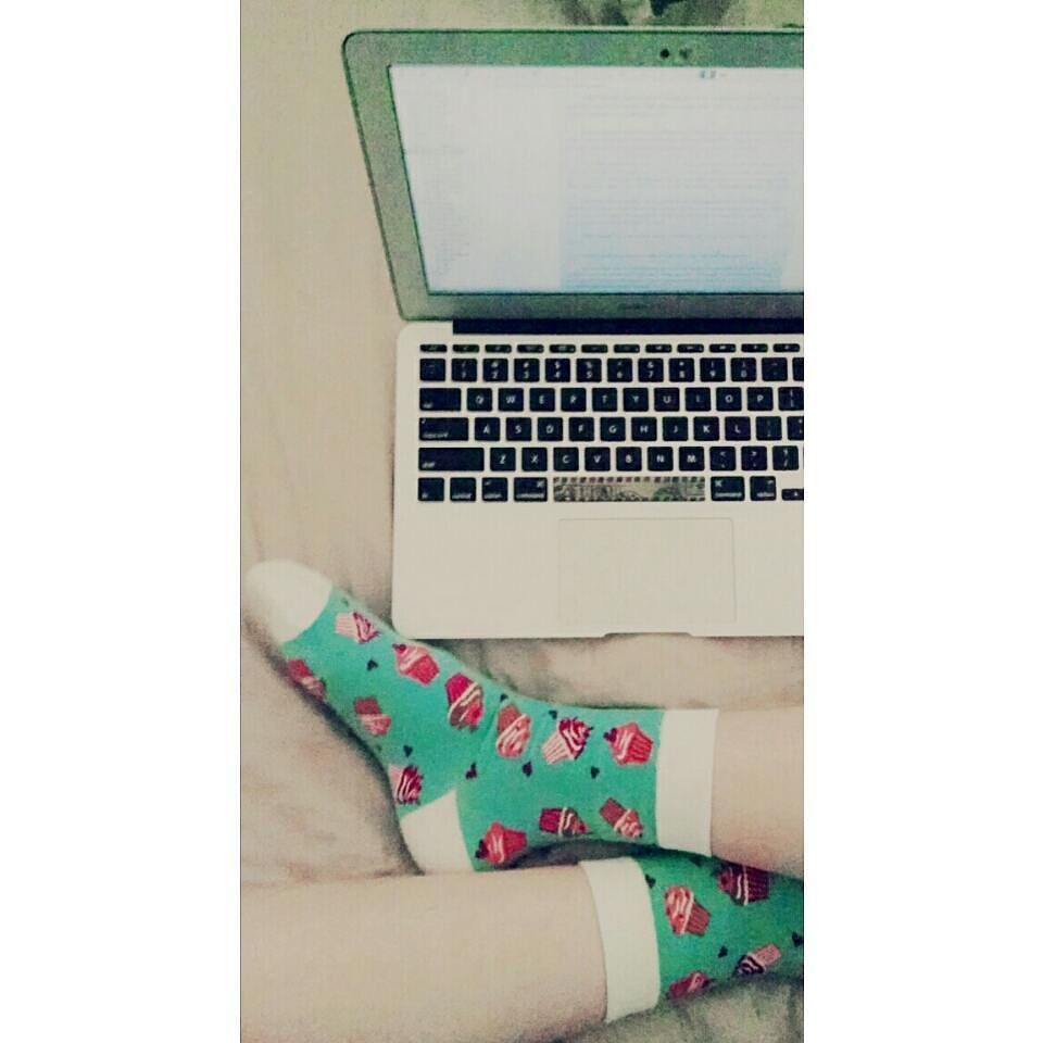 This #socksunday brought to you by ankle length #cupcakes. #Amwriting instead of reading this morning just because. #wordsonpages #writersofinstagram
