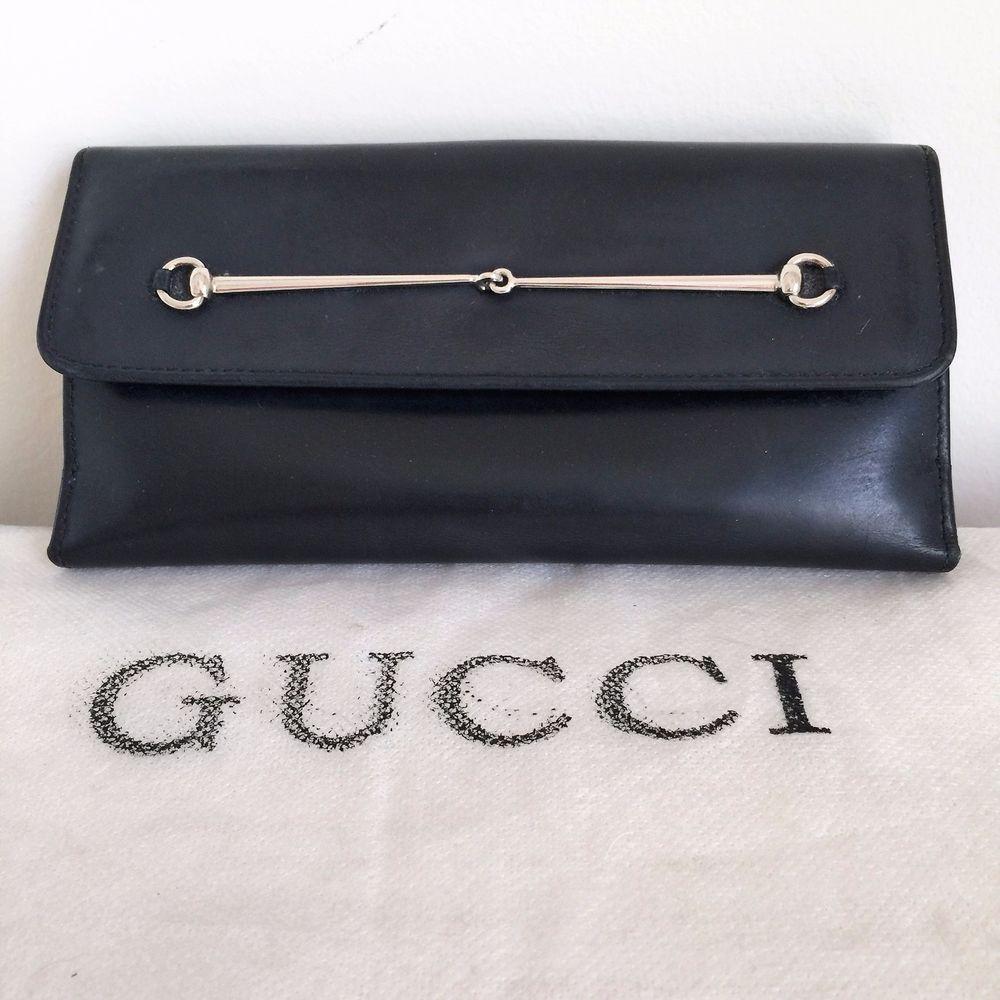 889620d342ab Authentic Gucci Horsebit Black Leather Snap Women's Wallet, CC Holder,  Checkbook #Gucci #Snap