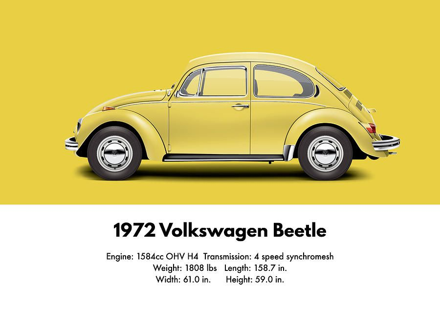 1972 volkswagen beetle saturn yellow digital art by ed jackson vw pinterest beetles. Black Bedroom Furniture Sets. Home Design Ideas